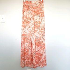 Two Arrows leaf print high rise wide leg pants S